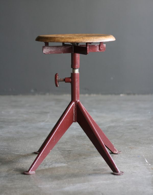 Adjustable stool, Ateliers Jean Prouvé | From a unique collection of antique and modern stools at https://www.1stdibs.com/furniture/seating/stools/