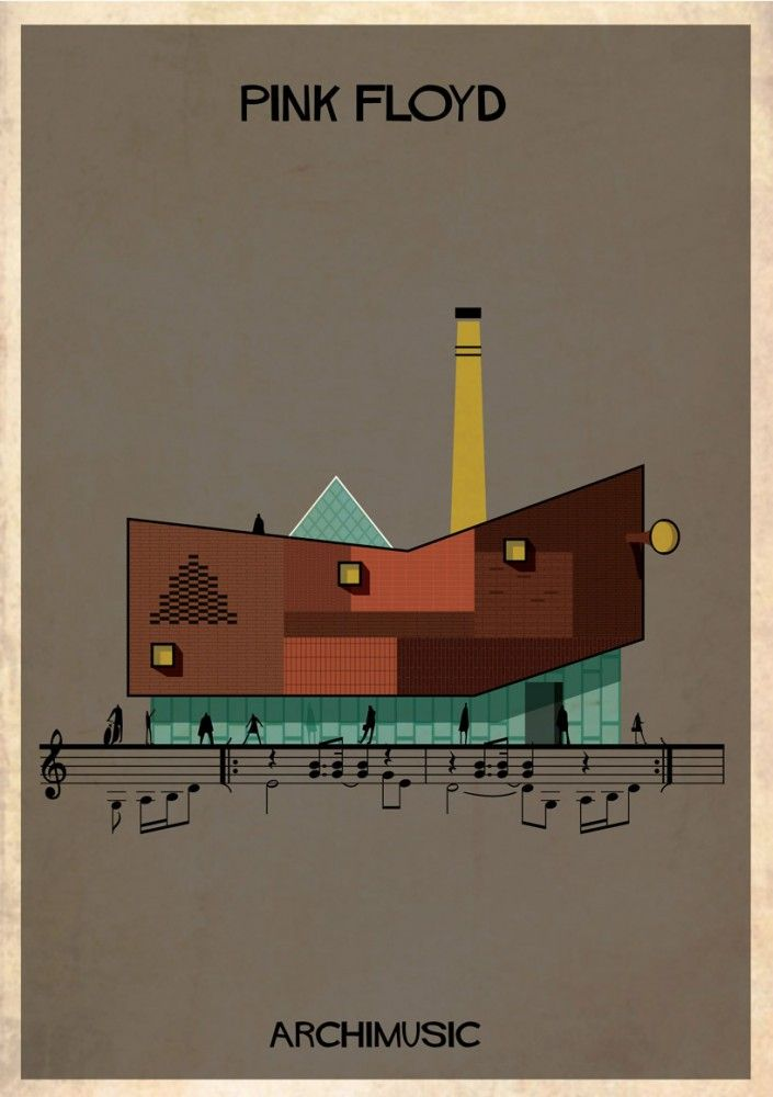 """ARCHIMUSIC: Illustrations Turn Music Into Architecture - Federico Babina / Pink Floyd, """"Wish You Were Here"""""""