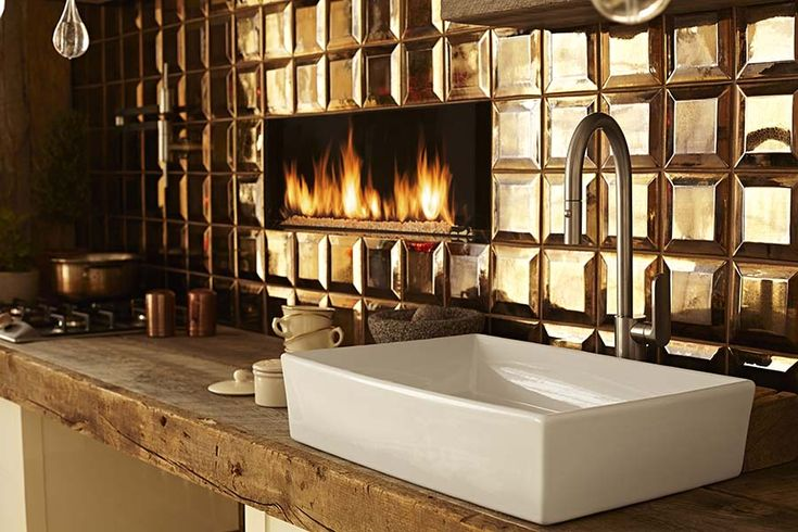 Why do bar sinks have to be a normal undermount?  Get creative with your wet bar and put in a vessel sink!  Make your bar or prep area pop with the attention being on a beautiful sink and faucet--that you can see!