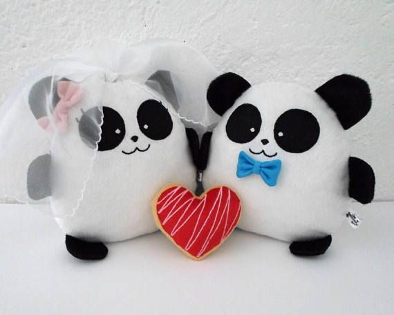 Big Panda Bear Couple Plush Toy Wedding Personalized Cute