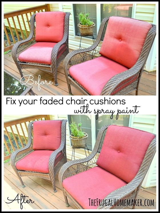 Fix Your Faded Chair Cushions With Spray Paint . Faded Chair Cushions  Refreshed With Spray Paint (chairs) . Using Krylon Indoor/Outdoor Satin Or  Matte Spray ...