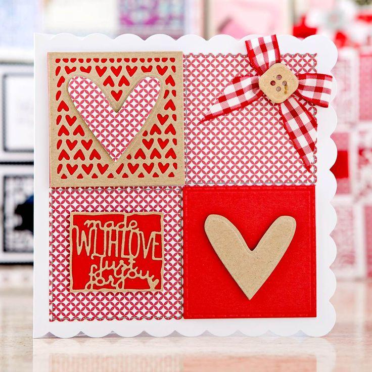 Gorgeous red and white card design from the @tonicstudiosuk Patchwork Perfections Bundle! Shop now at C&C: http://www.createandcraft.tv/pp/tonic-patchwork-perfections-3-sets-of-dies%2c-embossing-folder-paper-bundle-350006?utm_medium=social&utm_source=pinterest&utm_campaign=product&utm_content=pow
