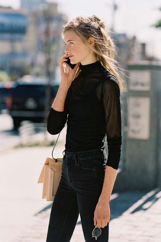 Minimal trends   Everything black with blush purse