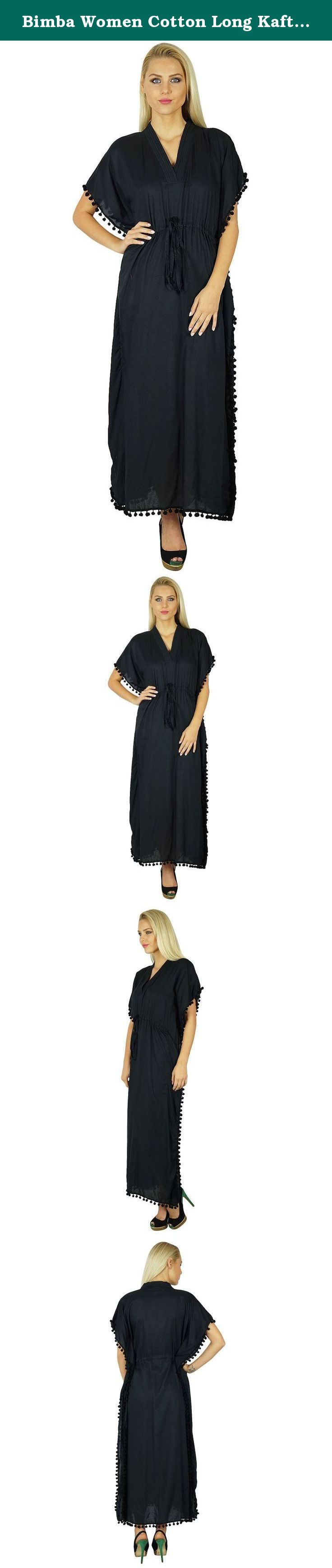 Bimba Women Cotton Long Kaftan With Pom Pom Tassels Maxi Caftan Beach Coverup. Get a boho chic look by bedecking yourself in this amazingly handmade long kaftan. With a string on the upper waist designed to highlight your waistline. The adorable kimono sleeves and the V neck gets accentuated because of the tassels stitched uniformly in a row on both the sides of the kaftan. Bimba has kept both your style and comfort in mind. and thus, this short kaftan has been created out of cotton…