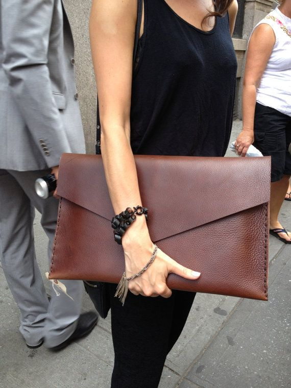 Large leather clutch in chestnut brown - clutch case envelope Hand sewn leather hand stitched by Aixa