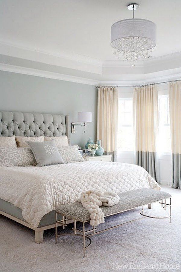 Relaxing Bedroom Colors: smoky blue bedroom paint walls, crystal drops chandelier, ivory and blue beddings...