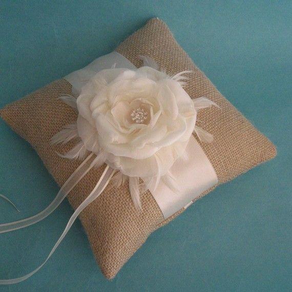 burlap pillow... use for ring bearer pillow.