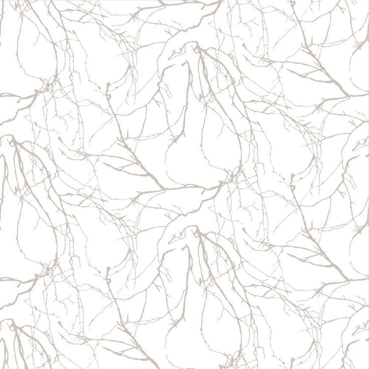 Oksat wallpaper, beige. Design Riina Kuikka