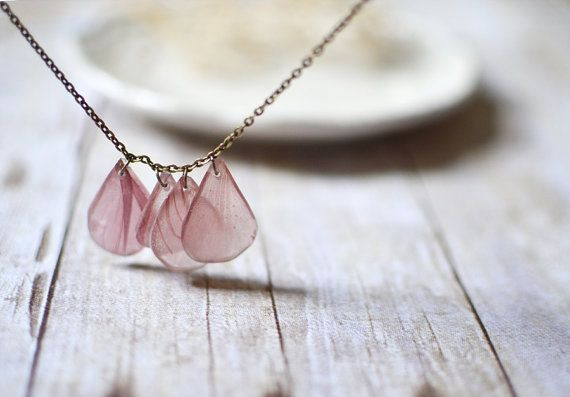 pressed flowers resin jewelry, real petal necklace, pale pink on Etsy, $35.00