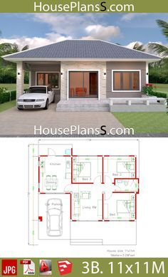 Simple House Design Plans 11x11 with 3 Bedrooms Full Plans ...