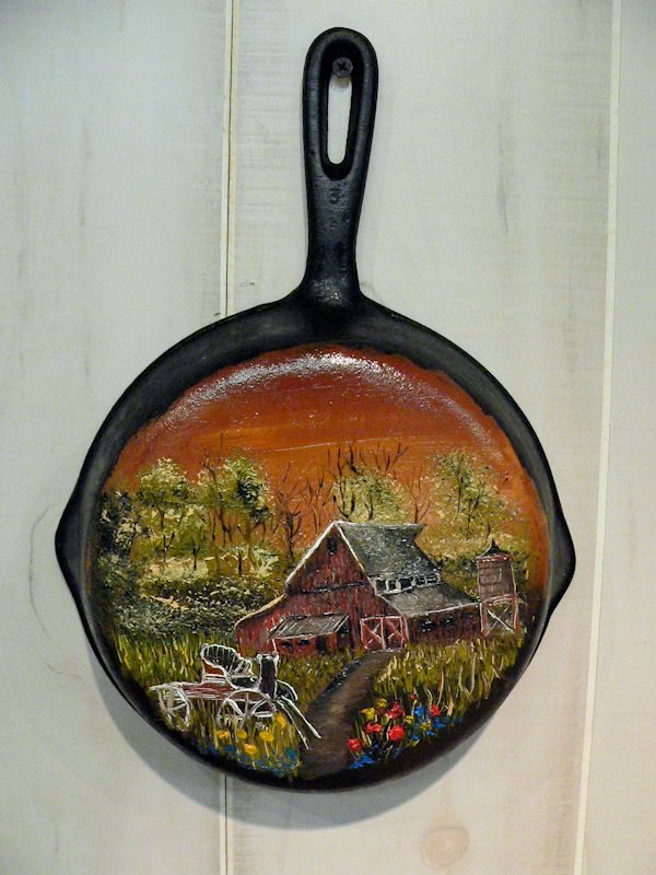 Oil Painting on a recycled iron skillet