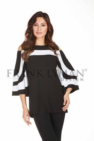 """Frank Lyman 2017. Chic cold shoulder tunic with fashionable """"belle"""" sleeve. Proudly Made in Canada"""