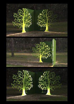 Décoration arbre outdoor, métal laqué