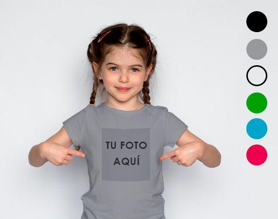Camiseta infantil personalizada de algodón, con tu foto o texto