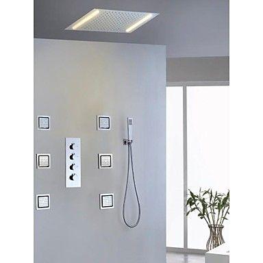 Robinet de douche - Contemporain - LED / Douche pluie / Jet de côté / Douchette…