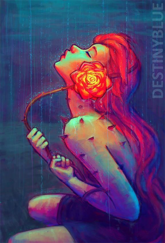rosa y lluvia