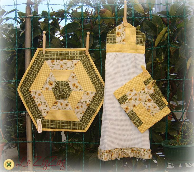 simple hexagon patchwork in yellow for kitchen.