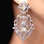 Elegant crystal prom earrings with filigree design.  These wholesale prom earrings have small clear crystals arranged with larger iridescent stones for a look prom girls love.  Check out more wholesale prom earrings by clicking on the link. http://www.awnol.com/store/Crystal-Jewelry/Crystal-Earrings