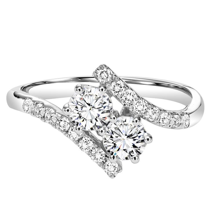 Twogether 1cttw 2-Stone Plus Bypass Diamond Ring
