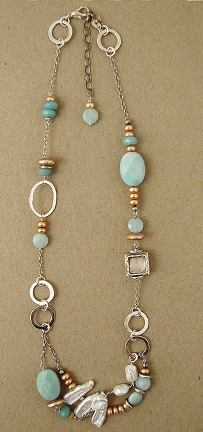 """Sterling, amazonite, tan and white pearl necklace. Lobster clasp.Handmade in USA. Adjustable from 18"""" to 20""""L. http://www.jandijewelry.com/"""