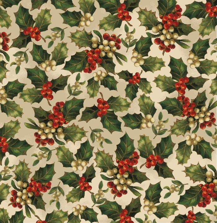 victorian christmas wrapping paper, holly berries on white background - Bing Images