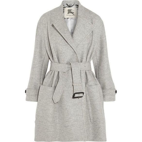 Burberry Belted Wool Wrap Coat Burberry London's light-gray coverup is a chic hybrid of its signature trench and a classic coat. Cut from cloud-soft wool with a smooth satinlining, this piece has a buckled waist belt that you can adjust to look casual or smart depending on the occasion. As seen on Meghan in October 2016, featured in April 2017 Vanity Fair.