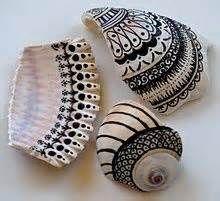 Idea, Sea Shells, Sharpie Crafts, Zentangle Design Inspiration, Shells ...
