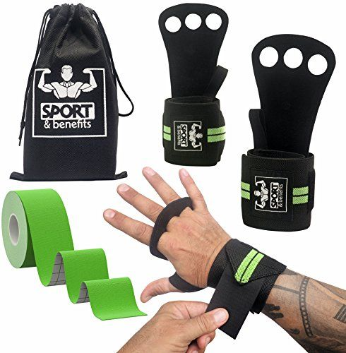 CrossFit Hand Grips with detachable Wrist Support and Kinesiology Tape - Gymnastics Hand Grips suitable for WODs, Weightlifting, Kettlebells, Pull Ups and Gym Workout, for Men and Woman  BLISTERS-FREE HANDS - Two CrossFit hand grips made of double-sided cowhide leather and a wide wrist wrap. That's all that stands between you and two healthy hands. Try Sport and Benefits Gymnastics Hand Grips and you won't have to suffer after each WOD!  NATURAL GRIPS - the CrossFit gloves are soft on ...