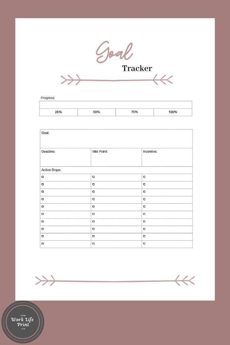 Goals Tracker Printable Progress Planner Insert 2020 Goals