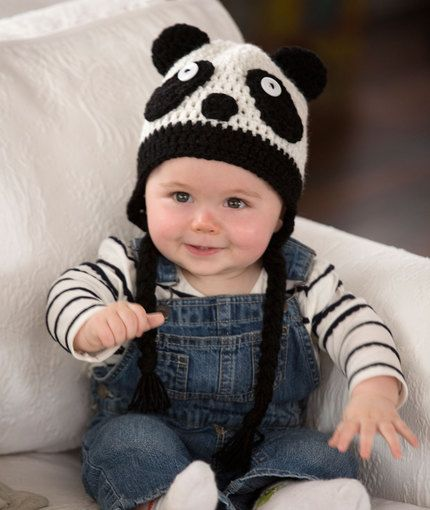 Panda Baby Hat Free Crochet Pattern from Red Heart Yarns
