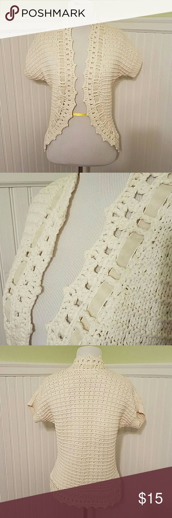 Loft open front crochet short sleeve top Beautiful cream crochet like open front short sleeve top with velvet ribbon down the front and at the hem.  The ribbon is a slightly different shade than fabric as shown in 2nd photo.    In good condition. LOFT Sweaters Cardigans