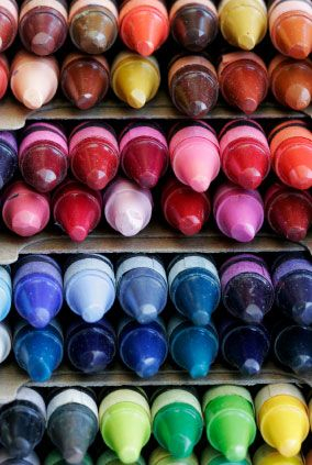 You can also use crayons for small touches of color when working with encaustics. Another tip: Take a can of clear wax, add a crayon color, blend to make desired hue of glaze. Crayons come in hundreds of colors.