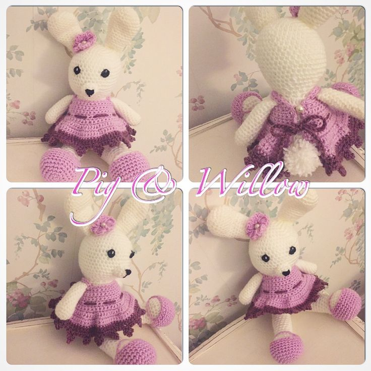 Dress me up Bunny with added flower.  Free pattern from Amigurumitogo.com