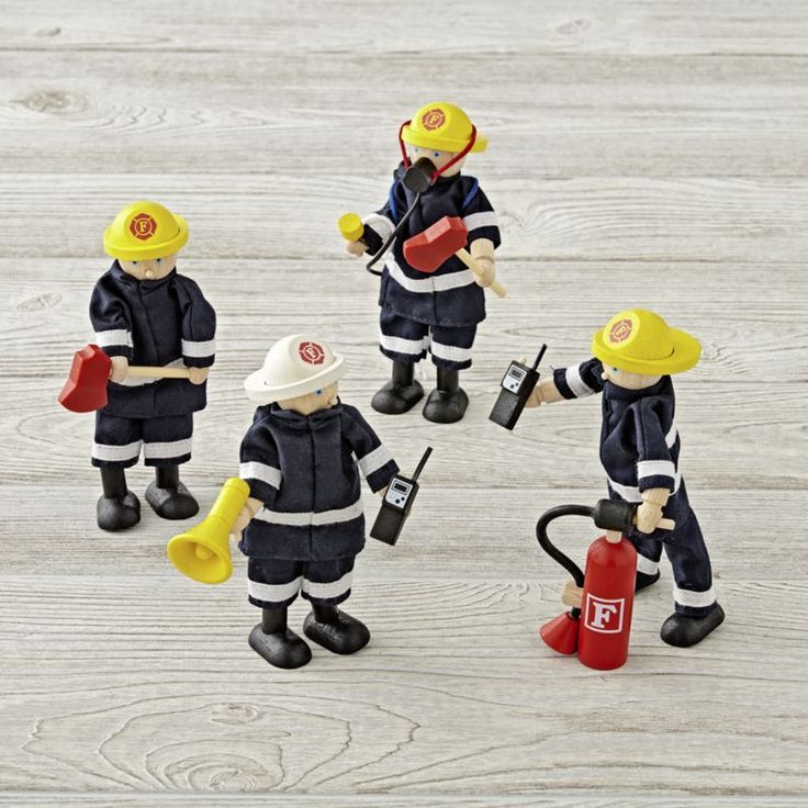 Shop Kids Wooden Firefighter Toys. Your kids can go on tons of imaginary rescue adventures with the help of our wooden toy firefighters. The set of four firefighters includes lots of extra accessories for imaginary play. Warning: Choking Hazard.