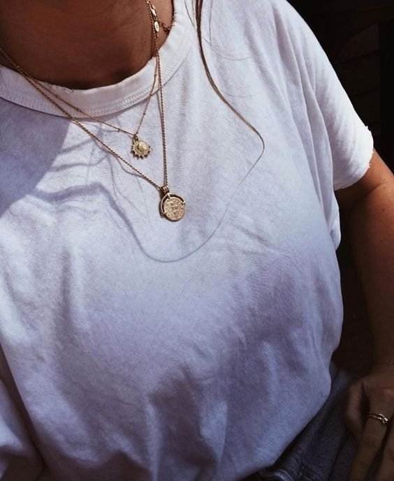 #necklace #gold #tshirt