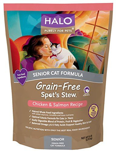 Halo Spot's Stew Holistic Dry, Grain Free Cat Food, Chicken and Salmon, 6 LB Bag of Natural Senior Cat Food