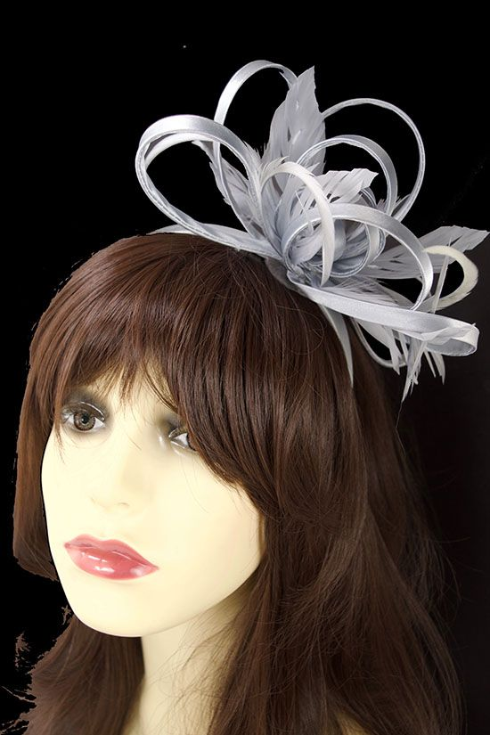 Silver grey with large loops and feather tendrils fascinator comb