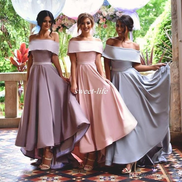 Modest High Low Bridesmaid Dresses 2016 Off the Shoulder Sash Lilac Blush Satin Cheap Wedding Party Formal Occasion Dresses Prom Party Gowns Online with $82.11/Piece on Sweet-life's Store | DHgate.com