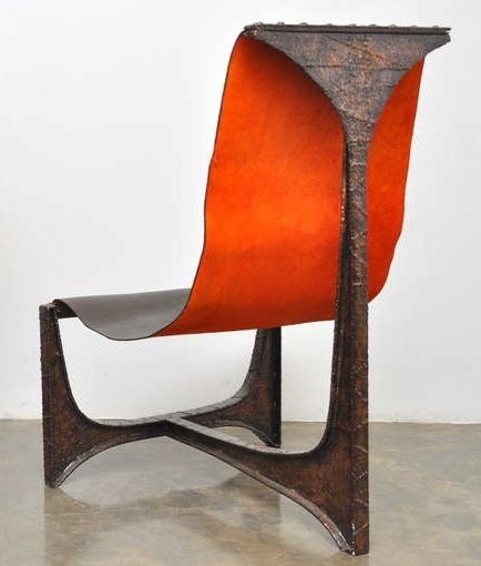 Paul Evans; Welded and Patinated Steel Sling Chair, 1960s.