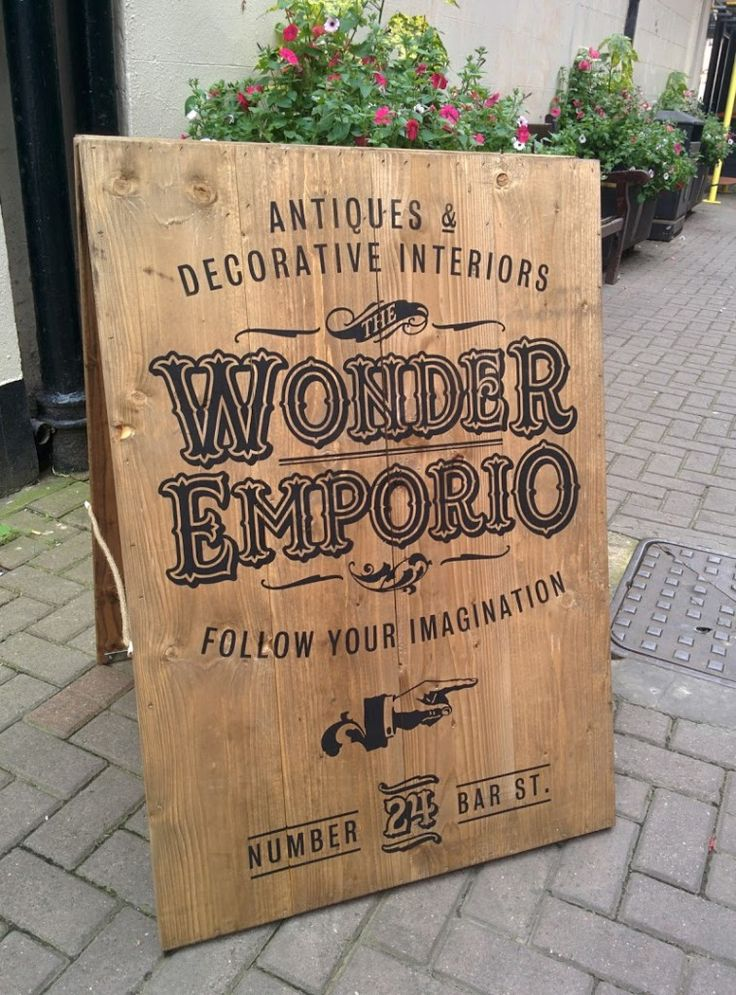 Rustic #SandwichBoard #Sign for The Wonder Emporio on ‪#‎BarStreet‬ in…