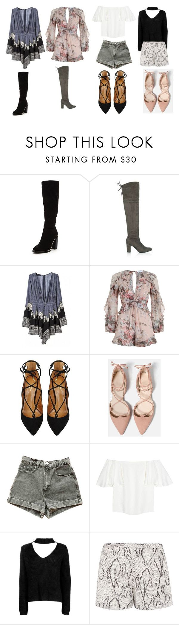 """""""Untitled #16"""" by davisreagan369 on Polyvore featuring WithChic, Zimmermann, Aquazzura, American Apparel, Valentino, Boohoo and Haute Hippie"""