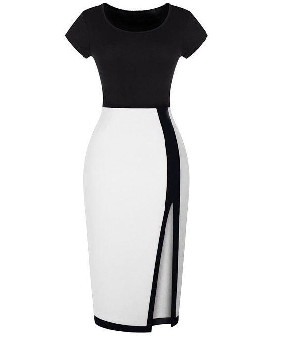 Black White Short Sleeve Split Bodycon 18.49