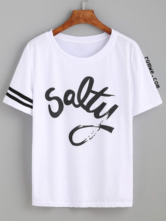 White Striped Trim Letters Print T-shirt