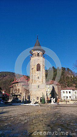 15th century town square, Stephen's Tower, city symbol of Piatra Neamt, Romania