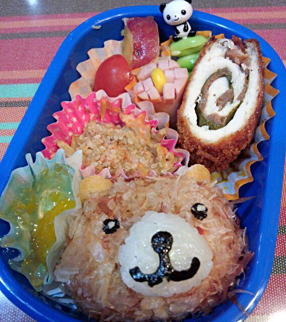 13回目(11月)の息子のお弁当♪ 発表会のリハーサルの日♪ クマさん役なのでクマさんおにぎりで♪ - 2件のもぐもぐ - 幼稚園お弁当(年少) by TSUKI