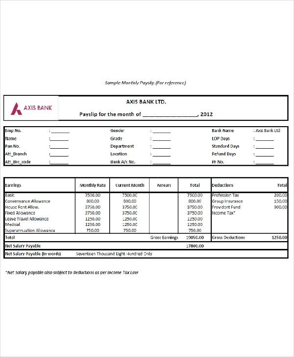 Salary Slip Templates 20 Ms Word Excel Formats Samples Forms Payroll Template Salary Templates