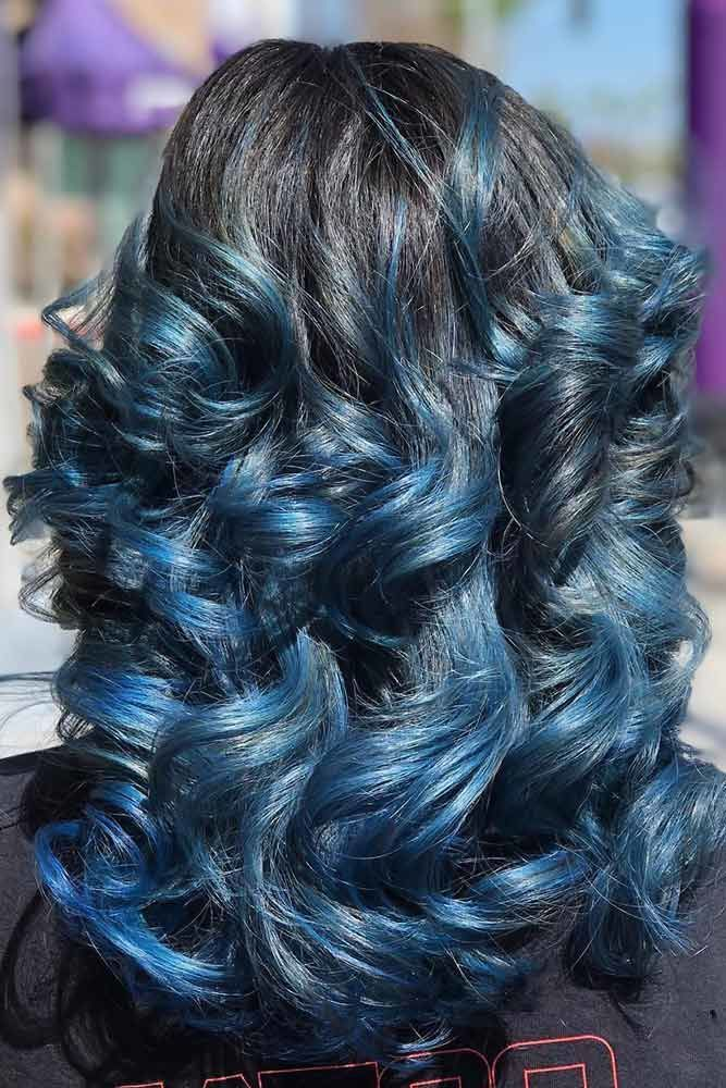 Jet Black Hair With Blue Highlights - beautiful Party Wear ...