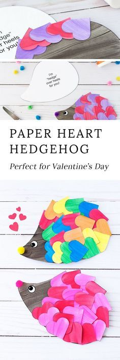 Just in time for Valentine's Day, kids of all ages will enjoy creating a darling heart hedgehog craft with paper hearts, paint, and pom poms. This easy kids craft includes a printable template, making it perfect for home or school. #valentinesday #valenti