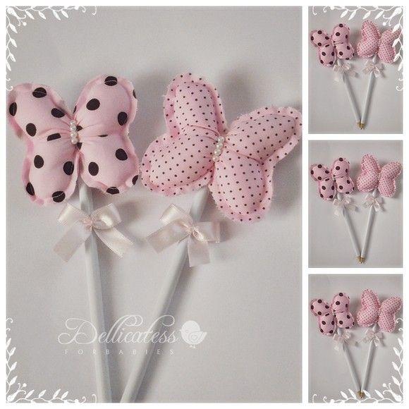 Ponteiras de lápis com borboleta em tecido. Cor rosa e marrom. Fabricamos em…