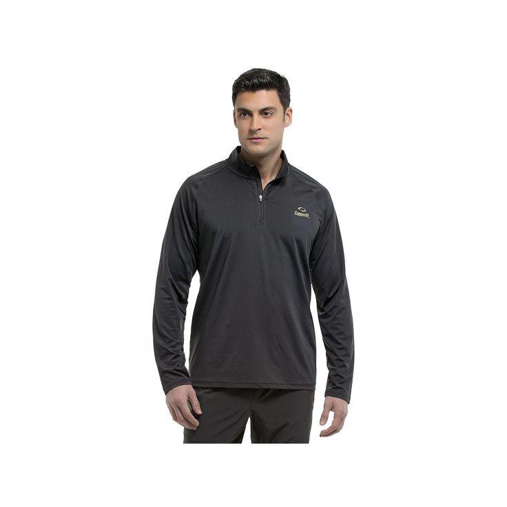 Men's Copper Fit Quarter-Zip Pullover, Size: Medium, Black